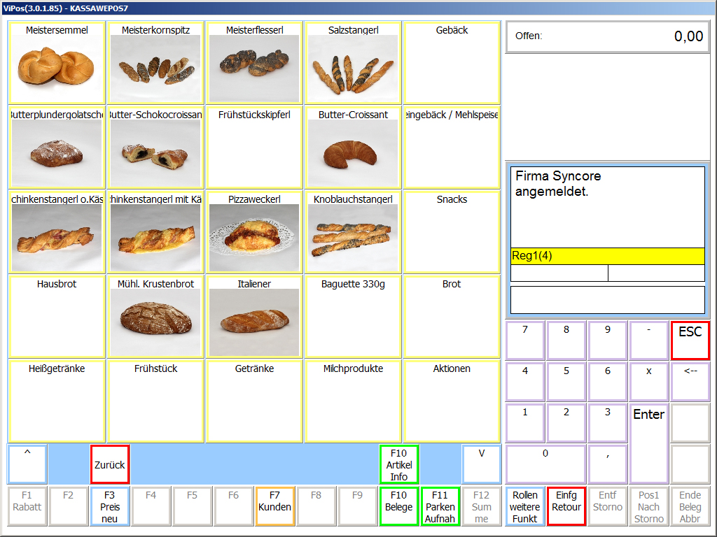 Screenshot Bäckerei Kassensoftware