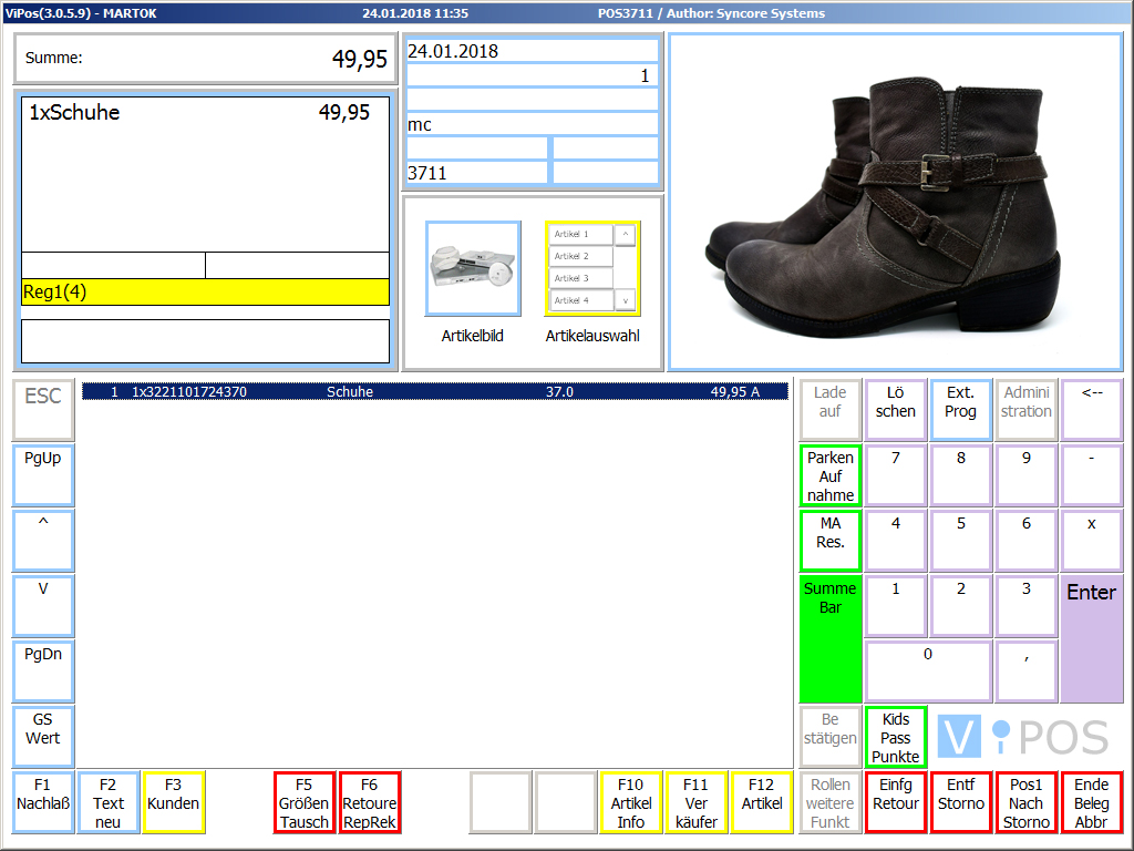 Screenshot Schuhhandel Kassensoftware